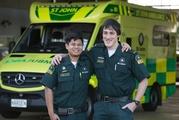 St John frontline paramedics Jared Ranudo, left, and Harrison Smythe after their lucky escape. Photo / Brett Phibbs