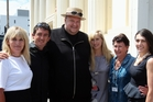 Vinny Hill (left), pictured beside her late brother Tony Lentino in 2013 outside his Napier company Instra Corp, with Kim Dotcom, Tony's wife, Emily Lentino, Tony's mother, Linda Brown, and his sister, Louise Lentino.