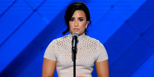 Singer Demi Lavato speaks about mental health issues during the first day of the Democratic National Convention. Photo / AP