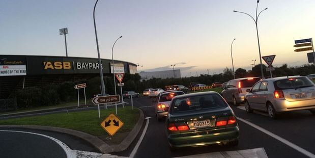 Traffic backed up at the BayPark roundabout on SH29a after a fatal crash this afternoon. Photo/Allison Hess
