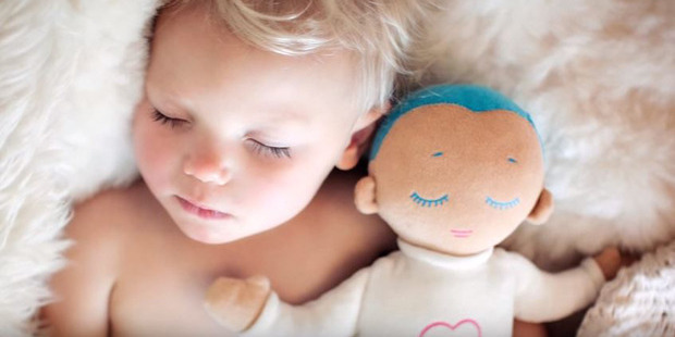 The dolls make breathing and heartbeat sounds, and are believed to have a range of benefits for babies. Photo / YouTube/Roro Care