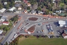 This aerial view shows the construction of a roundabout at the Kensington Ave and State Highway 1 intersection. Photo / Northland Rescue Helicopter