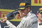 Lewis Hamilton celebrates victory at the Hungarian GP. photo / AP