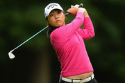 Lydia Ko hits her second shot on the 3rd hole during the first round of the 2016 Ricoh Women's British Open. photo / Getty