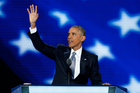President Barack Obama waves to the delegates before speaking during the third day of the Democratic National Convention in Philadelphia. Photo / AP