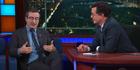 """Jon Oliver explains his """"inbuilt heat detector"""" to Stephen Colbert."""