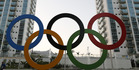A representation of the Olympic rings are displayed in the Olympic Village in Rio de Janeiro. photo / AP