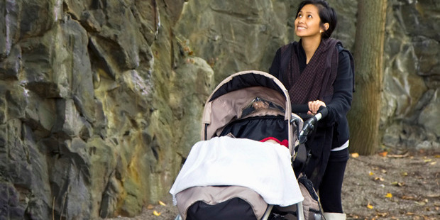 A covered pram left in the sun was found to be 15 degrees hotter than a pram left uncovered. Photo / iStock