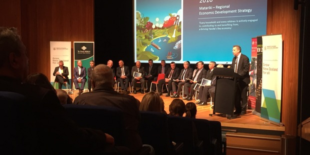 BOOST: The launch of Matariki - Hawkes Bay regional economic development strategy in Napier this morning. PHOTO/WARREN BUCKLAND.
