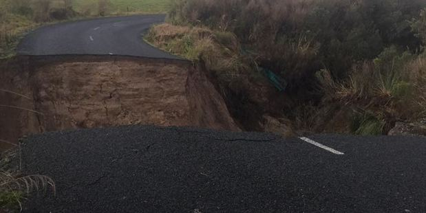 Loading A gaping chasm has appeared in a south Waikato road as councils across the North Island begin to take stock of damage in the wake of the weekend's storm. Photo: Civil Defence Waikato/Facebook