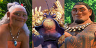Rachel House as Gramma Tala, Jemaine Clement as Tamatoa and Temuera Morrison as Chief Tui in Disney's upcoming animated film, Moana.