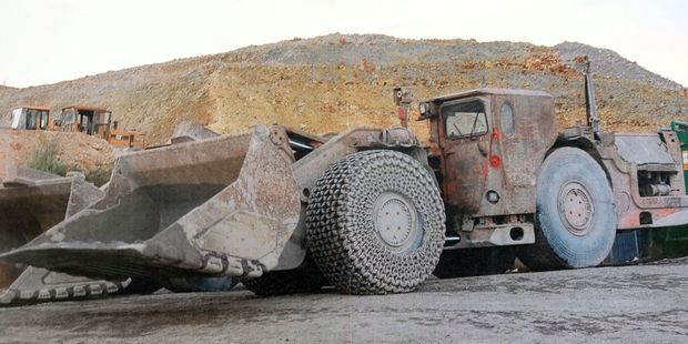 A 29-year-old man died in an underground loader like this one. Photo / OceanaGold