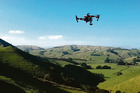 A Wairarapa Aerial Imaging Ltd drone begins its flight over the Wyeth family's farm in Masterton.
