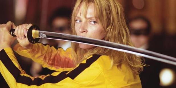 Uma Thurman as the deadliest woman in the world with a knife in Kill Bill.