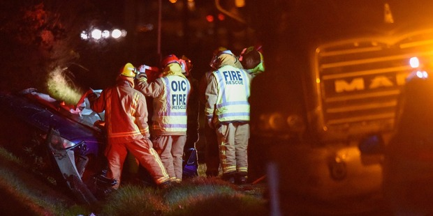 Emergency services at scene of a fatal crash near Katikati on Dawson Rd off State Highway 2. Five people are reported dead. Photo / George Novak