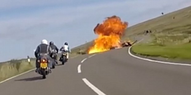 An on-bike camera caught the moment Lewis Clark, from Pontefract, West Yorkshire, died in the tragic motorbike collision. Photo / Isle of Man Constabulary Road Policing Unit