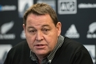 All Blacks coach Steve Hansen speaks to the media during the New Zealand All Blacks squad announcement. Photo/Getty