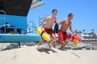 New Zealand lifeguard Corey Davies, 15, (left) patrols with an American lifeguard at Huntington Beach, California, during the exchange programme. Photo / Supplied