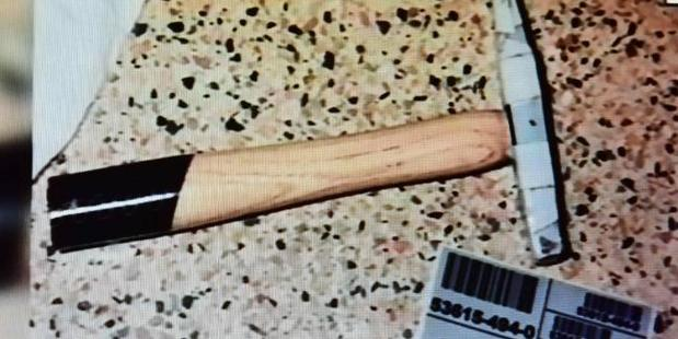 One of the weapons used from the Amy Kasehagen found guilty of attempted murder of Bronson Hayter. Photo / Nine News
