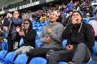 Dani Katene, Caleb Tikena, Nathaniel Tikena and Carlos Tikena were good examples of boisterous but well behaved sports fans at Sunday's RLN Grand Final. Photo / Tania Whyte