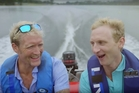 Olympic Champions Eric Murray (left) and Hamish Bond in the Air New Zealand promotional video.