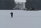 The year's biggest snowfall blankets the Waiouru area on the central plateau of the North Island.