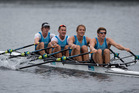 New Zealand Rowing Men's Quadruple Sculls, (L-R) Nathan Flannery, Jade Uru, George Bridgewater and John Storey. Photo / Brett Phibbs