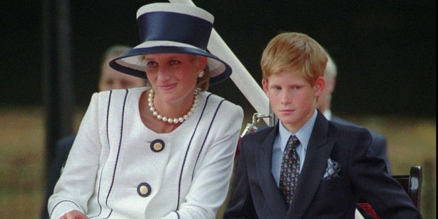 Britain's Princess Diana, left, sits next to her younger son Prince Harry. Photo / AP
