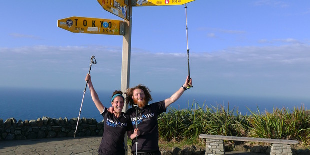 Adele-Ivy Harris and Carl Hutchinson during their epic walk. photo / supplied