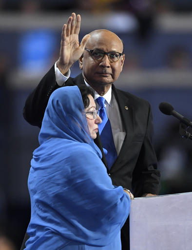 Khizr and Ghazala Khan appear on stage at the Democratic National Convention. Photo / AP