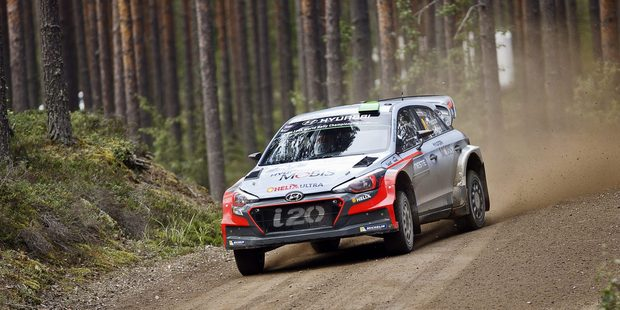 New Zealand driver Hayden Paddon during the Neste Rally Finland. Photo / AP