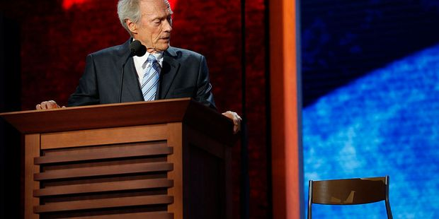 Actor Clint Eastwood talks to an empty chair during the 2012 Republican National Convention. Photo / Getty Images