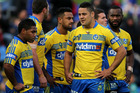 Eels teamates looking dejected during the 2014 match against Newcastle. Photo / Getty Images