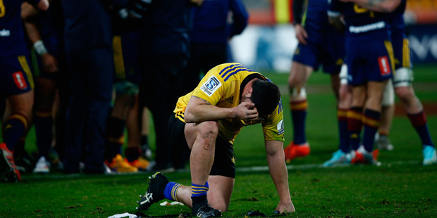Jeffery Toomaga-Allen shows his despair following the Hurricanes' defeat against the Highlanders. Photo / Getty