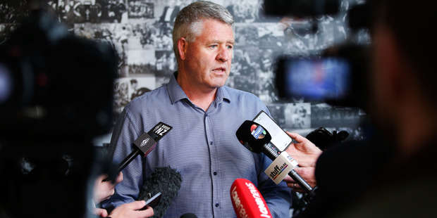 New Zealand Rugby chief executive Steve Tew speaks to the media. Photo / Getty