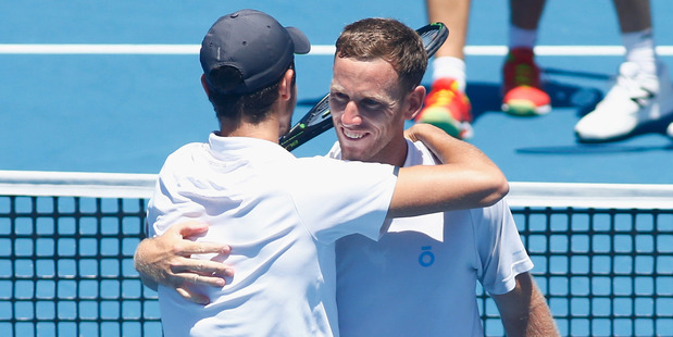 Michael Venus and Mate Pavic celebrate at the Australian Open. Photo / Getty Images