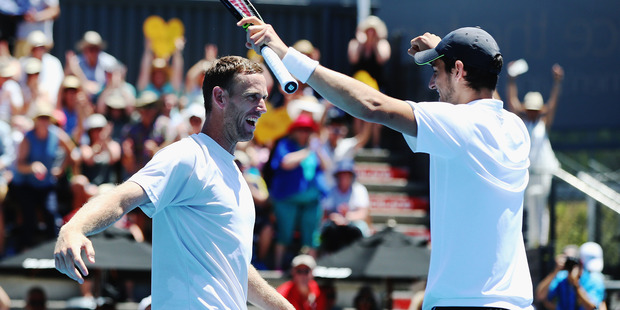 Michael Venus and Mate Pavic celebrate at the ASB Classic. Photo / Getty Images