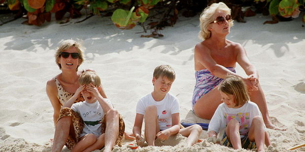 Princess Diana with Prince William and Prince Harry with one of her nieces and her mother Frances Shand-kydd on holiday on Necker Island. Photo / Getty Images