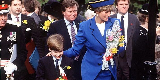 Princess Diana With her Son, Prince William and bodyguard Ken Wharfe. Photo / Getty Images