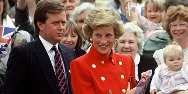 Princess Diana And her Bodyguard Ken Wharfe, Derbyshire. Photo / Getty Images