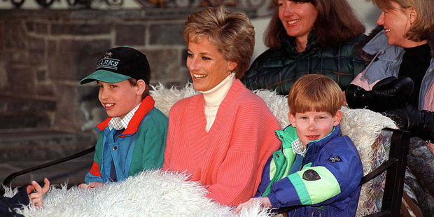 Princess Diana with Prince William and Prince Harry. Photo / Getty Images