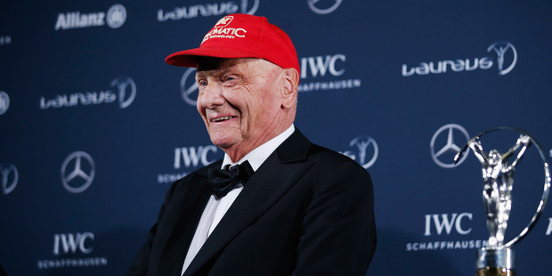 Niki Lauda speaks with his Laureus Lifetime Achievement Award. Photo / Getty Images