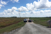 Police cars block access to the site where a hot air balloon crashed early Saturday, July 30, 2016, near Lockhart, Texas. Photo / AP