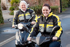 Sarah O'Keefe and Lynne will be among 250 people to ride the 250km from Christchurch to Hokitika as part of the Tranz Alpine Scooter Safari, to raise money for cancer. Photo / Christchurch Star