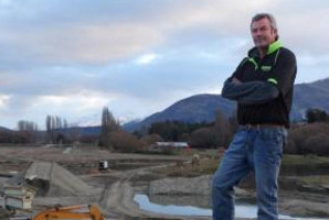 Graham Lee is preparing land along Cameron Creek, Wanaka, for a new $4million facility where the public can fish for salmon. Photo / Mark Price / Otago Daily Times.