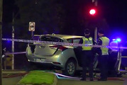 The Sydney woman was dragged more than 70 metres after being mowed down at the intersection of King and Victoria streets in West Melbourne early on Saturday. Photo / Channel 7 / Supplied