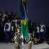 The flag of Brazil is raised during the opening ceremony of the 2016 Summer Olympics in Rio. Photo / AP