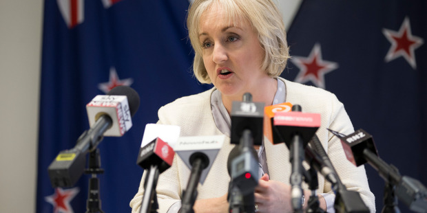 Justice Minister Amy Adams announcing the Government will not pay compensation to David Bain. Photo / Mark Mitchell