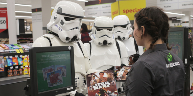 Loading Launch of Star Wars collectables at Countdown Ponsonby today with members of Outpost 42 in costume. Photo / Doug Sherring
