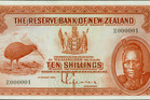 The Reserve Bank of New Zealand's oldest bank note. On the note is a North Island brown kiwi rendered from a Dutch artist's painting and the second Maori king Tawhiao. Photo / Supplied